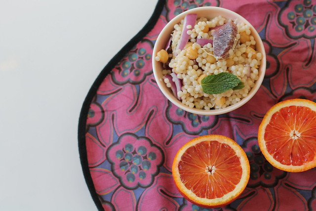Winter recipe: pearl couscous salad with chickpeas, blood oranges, purple onions, and fresh mint