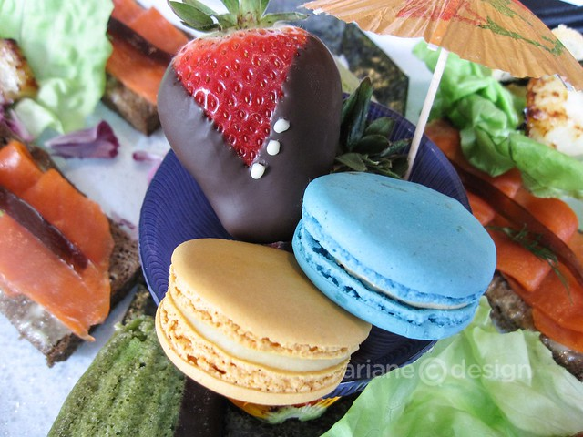 Macarons, Matcha tea madeleine, chevron strawberry