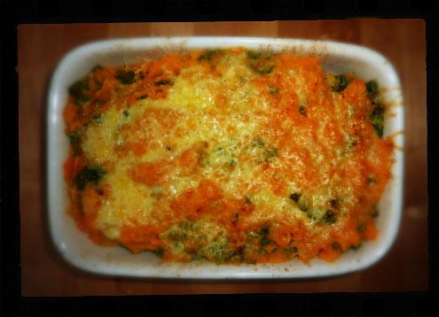 Cheesy sweet potato & kale brunch