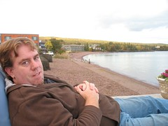 Scott Lounging on Lake Superior