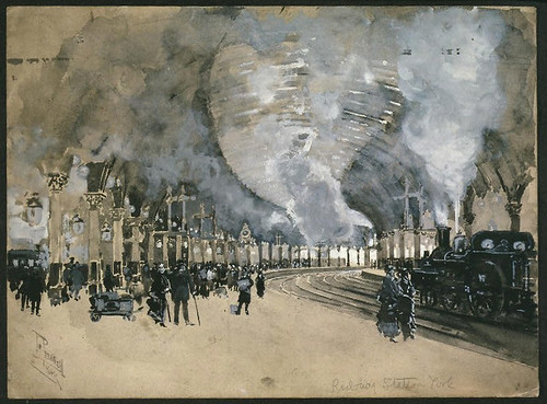 016- Estacion de ferrocarril en York Inglaterra -1895- Joseph Pennell-Library of Congress