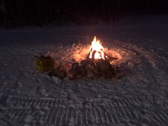 Warm bonfire on a cold night at Wasage Nordic