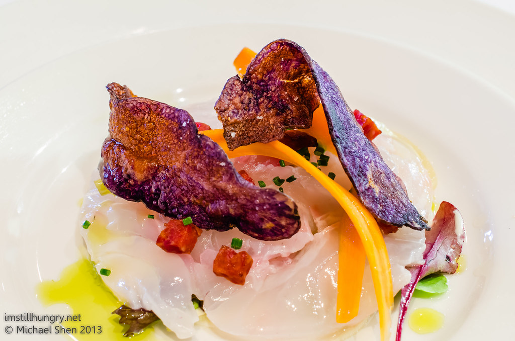 Bistro Lilly Optional course - snapper ceviche, pickled carrots, horseradish, chorizo & congo chips