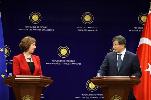 Catherine Ashton with Foreign Minister Ahmet Davutoğlu