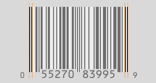 UPC-A barcode - left and right guard bars