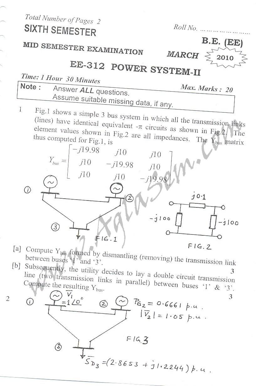 DTU Question Papers 2010 – 6 Semester - Mid Sem - EE-312