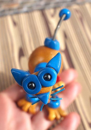Gold and Blue Mini Robot Cat is strange by HerArtSheLoves