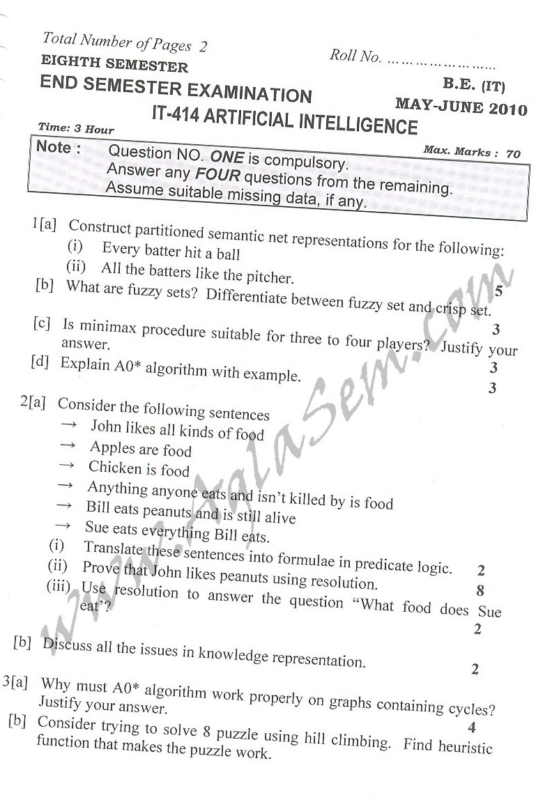 DTU Question Papers 2010 – 8 Semester - End Sem - IT-414