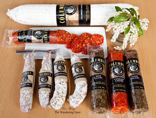 My selection of salame: Cacciatore, Sopressata, Herb Salame, Chorizo Casero and the very large Calabrese Salame