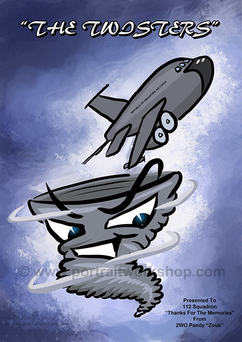 digital cartoon illustration for Singapore AirForce