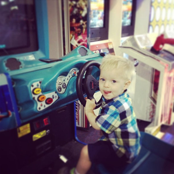"Eli loved ""playing"" in the arcade"