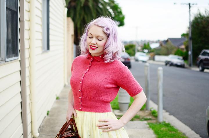 vintage pink cardigan c