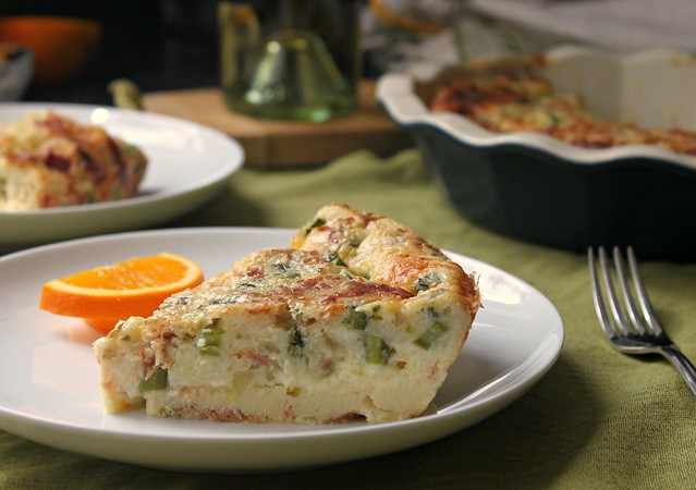 Bisquick quiche with asparagus, cheddar and crispy prosciutto recipe