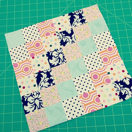 First scrappy trip around block #quilting #scrappytripalong #vintagemodernquilts #retreat