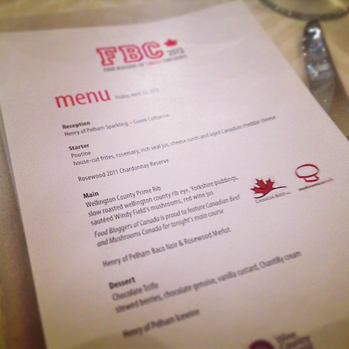 FBC 2013 Gala Dinner Menu. Hellooooooo poutine!