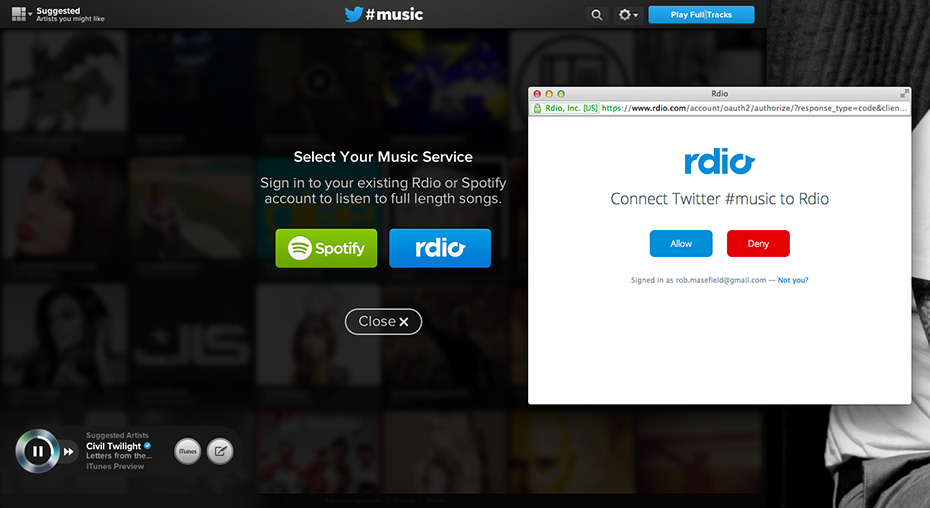 Twitter #music - Connect to your rdio account