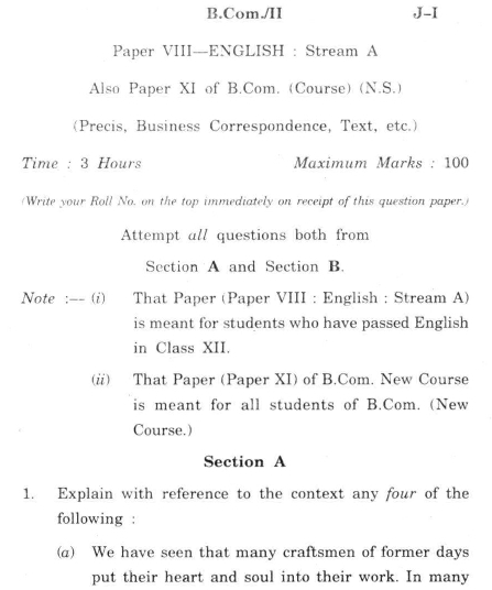 DU SOL B.Com. Programme Question Paper - English - Paper XI