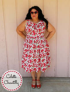 Colette Chantilly in Gertie rose print Swiss dot cotton
