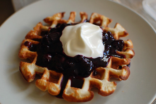 Waffle with Blueberry Syrup and Yoghurt