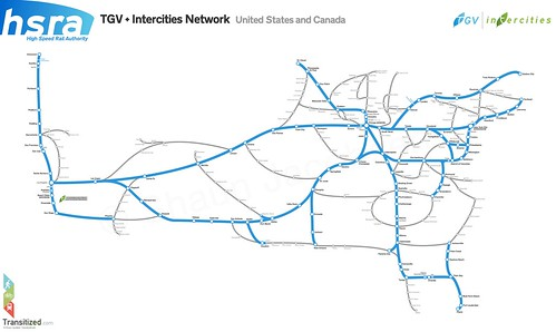 Conceptual high-speed rail map of the USA.