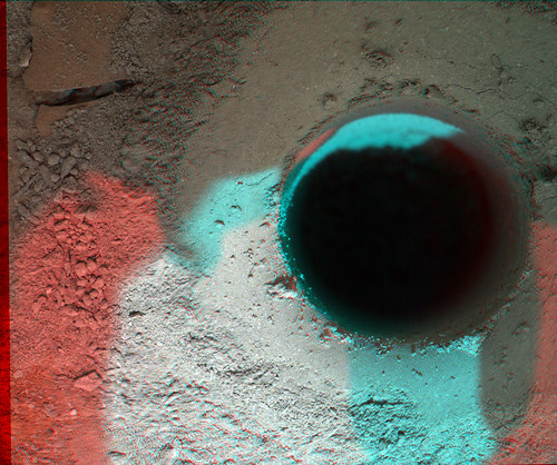 CURIOSITY sol 182 MAHLI drill anaglyph