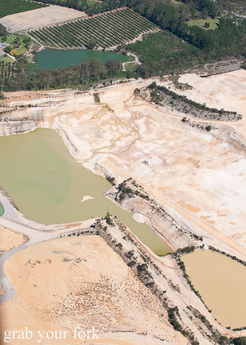 Bondi Helicopter flight aerial view of a Central Coast quarry