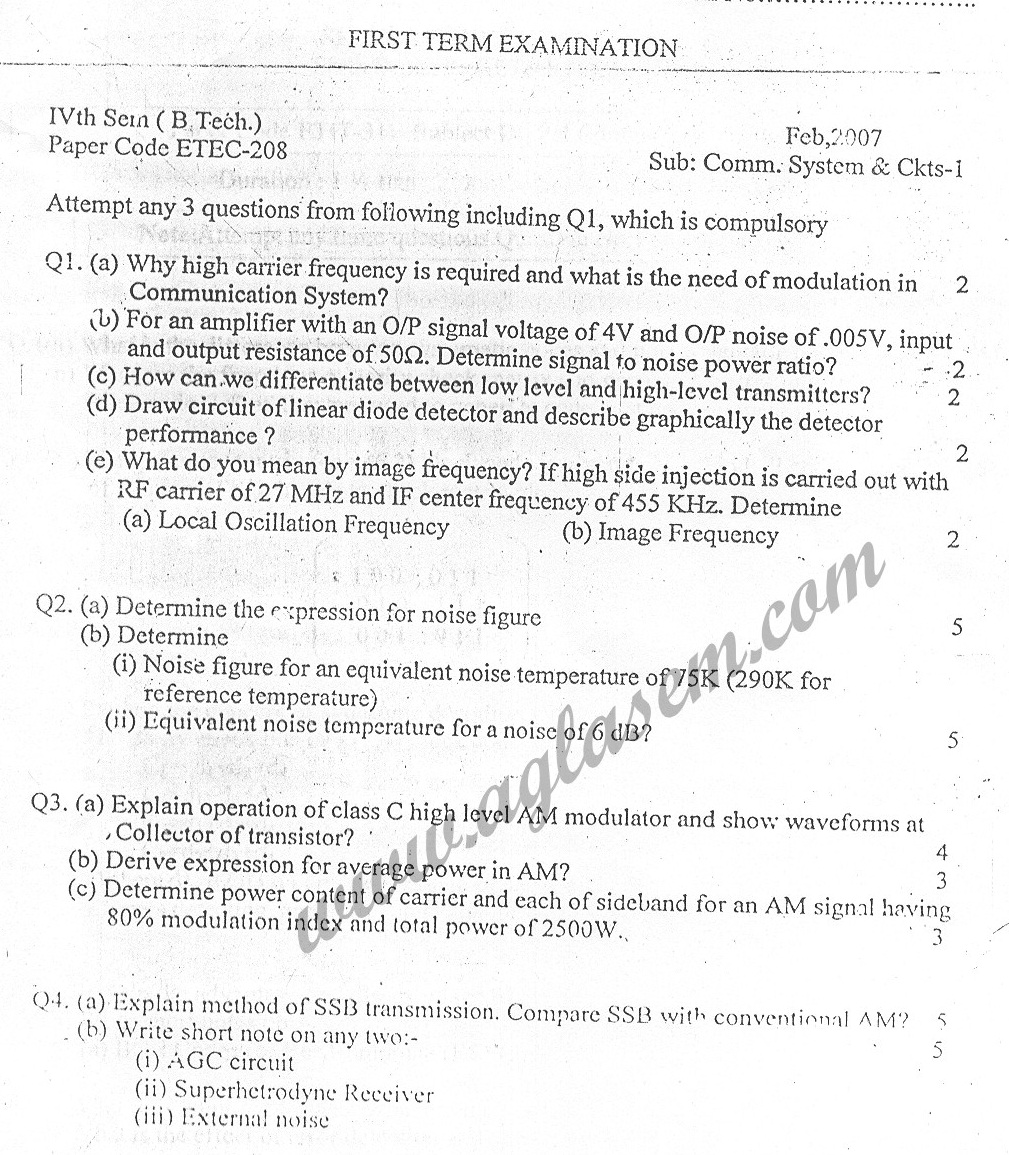 GGSIPU Question Papers Fourth Semester – First Term 2007 – ETEC-208