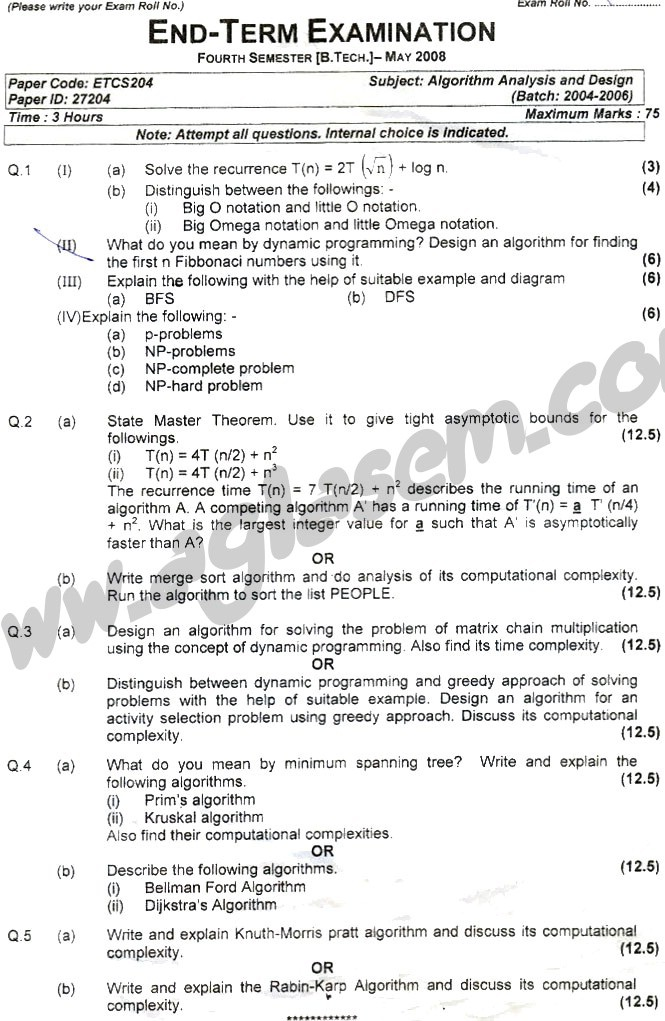 GGSIPU Question Papers Fourth Semester – end Term 2008 – ETCS_204