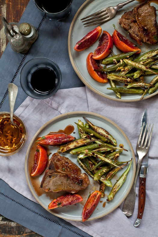 Lamb Chops, Blood Orange Sauce & Roasted Okra
