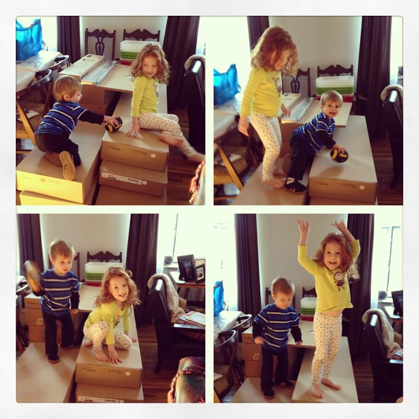 Time it took the kids to start using the giant pile of ikea for their personal jungle gym? Less than an hour. #ikea #kids #picstitch