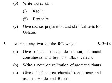 UPTU B.Pharm Question Papers PHAR-243 - Pharmacognosy-II