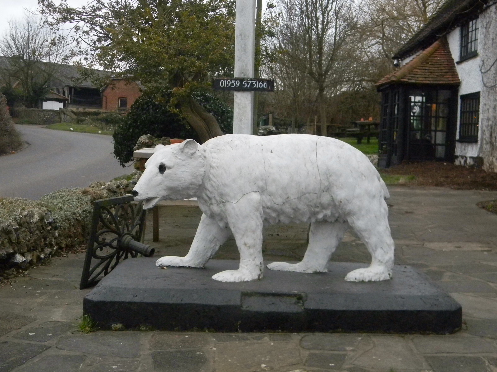A polar bear The melting ice has forrced them nearer to habitation. ...actually....it's the pub sign for the White Bear in Fickleshole...do you nelieve everything I say? Whyteleaf to Hayes