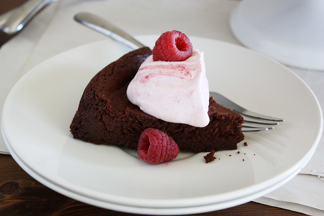 flourless fudge cake with raspberry whipped cream