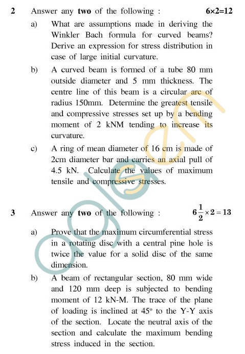 UPTU: B.Tech Question Papers - ME-405 - Advanced Strength of Materials