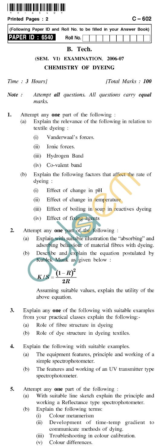 UPTU B.Tech Question Papers - C-602 - Chemistry of Dyeing
