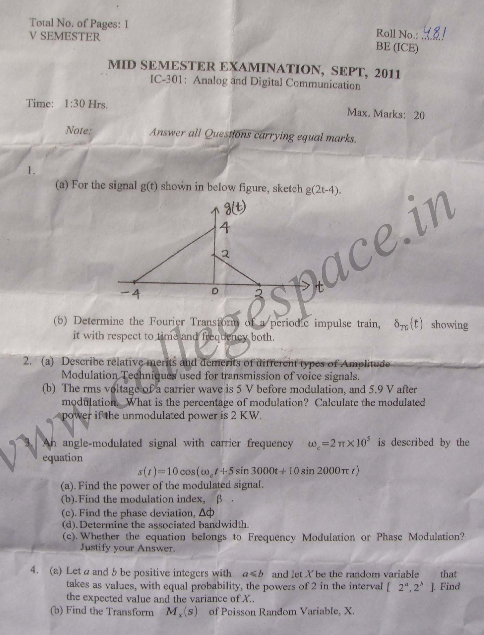 NSIT: Question Papers 2011 – 5 Semester - Mid Sem - IC-301