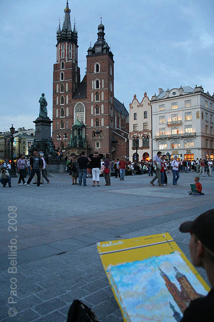 Pintora callejera en Rynek Glowny. © Paco Bellido, 2008
