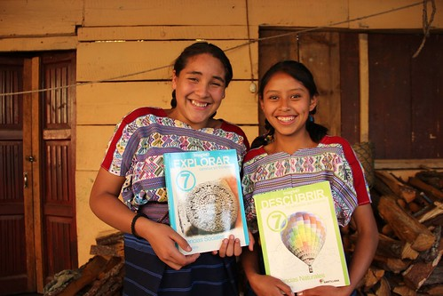 Mayan girls in the textbook program