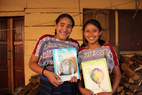 Mayan girls in the textbook program