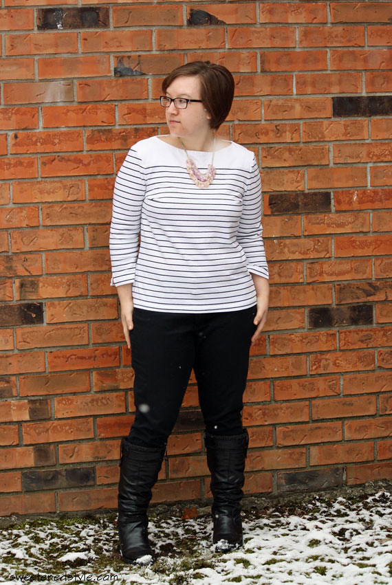 stripes, black pants, statement necklace, boots