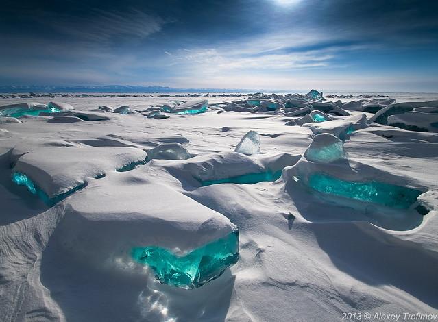 Baikal Treasures. Sapphire sky, turquoise ice