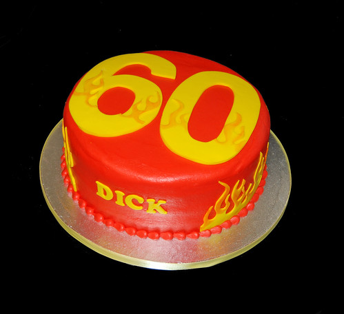 60th birthday cake with flames