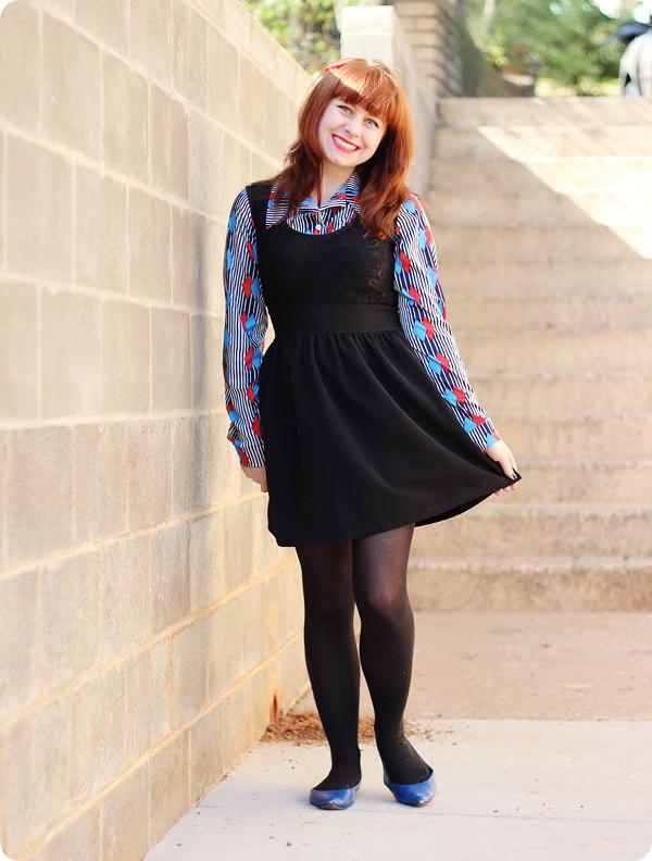 Geometric 70s Shirt Under A Little Black Dress Petite