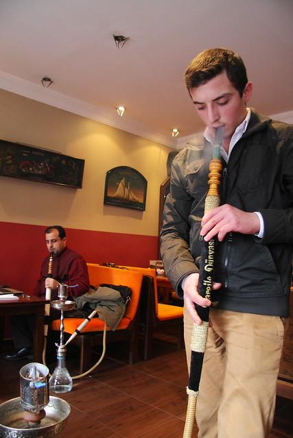 At a shisha cafe in Kadikoy, Istanbul, Turkey カドゥキョイ、水タバコカフェにて