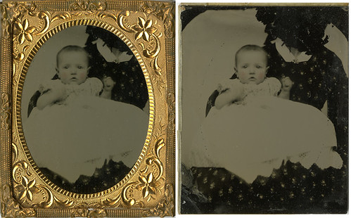 Baby with Hidden Mother - Ninth Plate Ruby Glass Ambrotype