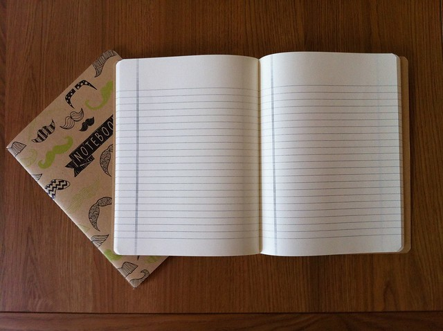 Notebooks with lined paper and a margin