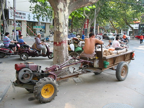 A tractor selling fruit on the streets of Zhengzhou, China
