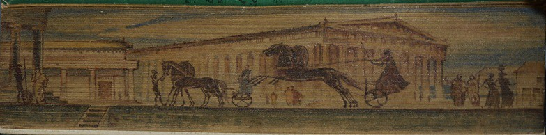 Hepburn 61 Right facing fore-edge painting of an ancient greek scene. Artist unknown