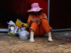 Saigon. Garbage collector at rest