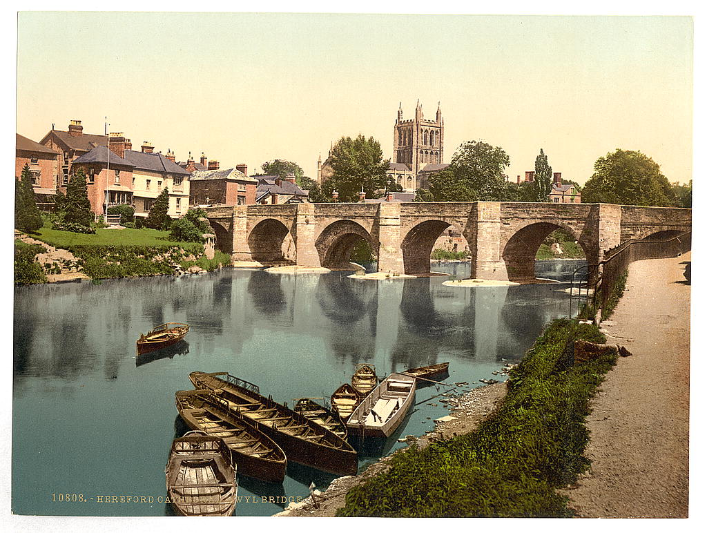 [Cathedral and Wye bridge, Hereford, England]  (LOC)